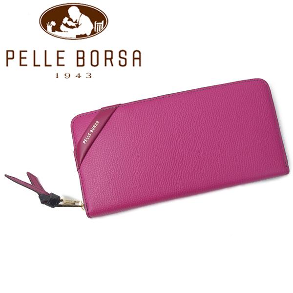 ペレボルサ 財布 PELLE BORSA DEMI ドゥミ 4614-PINV ピンク×ネイビー レディース ラウンドファスナー 長財布