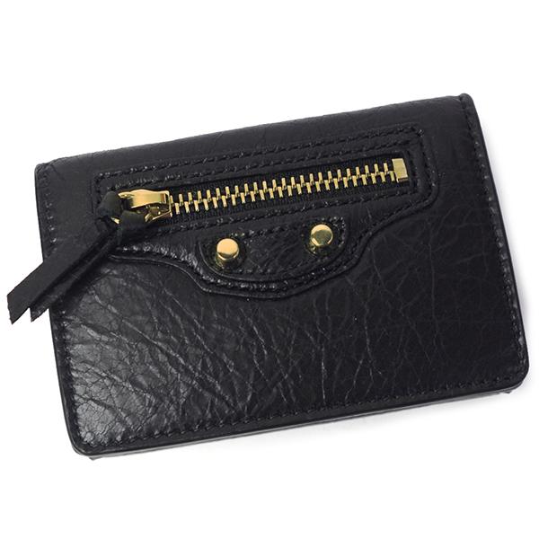 バレンシアガ 本革 財布 レディース メンズ クラシックミニ 477455 D940G 1000 ブラック/ゴールド