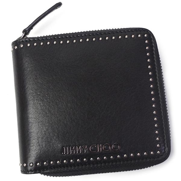 ジミーチュウ ローレンス 二つ折財布 メンズ レディース ラウンドファスナー LAWRENCE TIA ブラック/ガンメタル