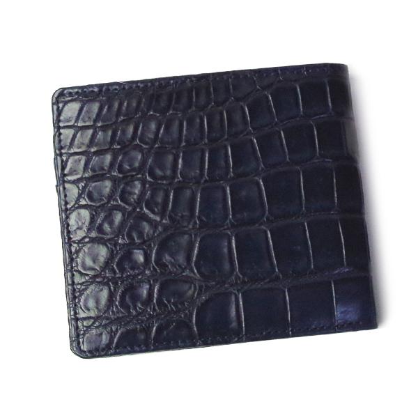 クロコダイル 高級皮革 財布 折財布 CROAP-9 ネイビー レディース/メンズ ■ □