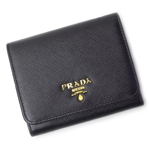 プラダ PRADA 財布 1MH176 SAFFIANO METAL ブラック レディース サフィアーノ NERO 三つ折財布