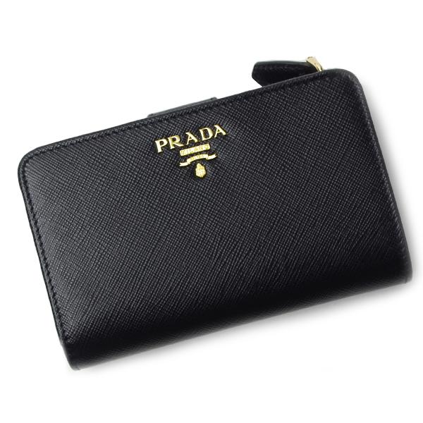 プラダ 財布 PRADA 1ML225 SAFFIANO METAL ORO NERO ブラック