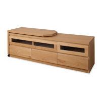 天然木テレビボード回転盤付 150.5cm幅 ナチュラル色 【送料無料】
