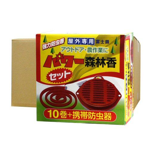 アウトドア用強力煙の虫よけ線香 パワー森林香 10巻・携帯防虫器セット×24箱セット