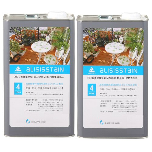 アリシスステイン オリーブ 4L×2本 ケミプロ化成 [木材保護塗料] 【北海道・沖縄・離島配送不可】