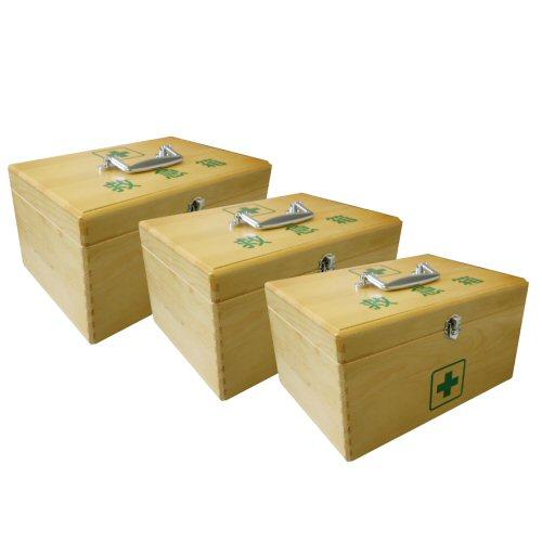 LEリーダー木製救急箱Sサイズ×3セット(衛生材料セット付)