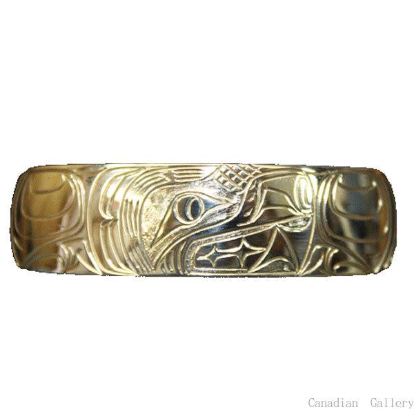 カナダ先住民 ナンシー・ドーソンさん手彫り シルバー.925製 ブレスレット 13mm幅 外周約18cm(Mサイズ) ベアデザイン  【メール便可】