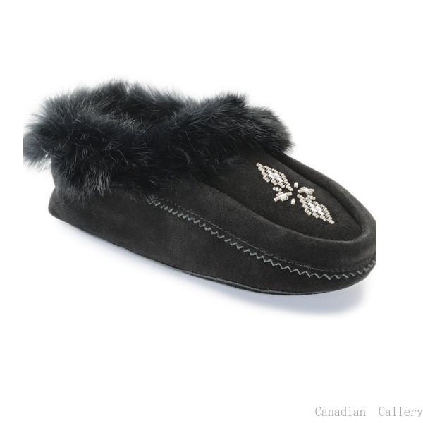 マニトバムックルック モカシン カラー:ブラック カナダの暖か室内スリッパ