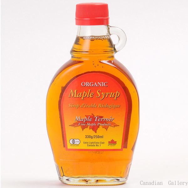 カナダ産 100%ピュア オーガニック(有機)メープルシロップ グレードA ゴールデン(デリケートテイスト) 250ml/330g(瓶) 1本 メープルテルワー(Maple Terroir)