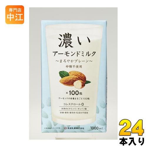 筑波乳業 濃いアーモンドミルク まろやかプレーン 1L 紙パック 24本 (12本入×2 まとめ買い)