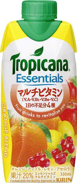 기린 트로피컬 필수 멀티 비타민 330ml 종이 팩 12 개입 〔 Essentials Tropicana ORANGE BLEND 비타민 비타민 B 비타민 C 주스 믹스 주스 〕