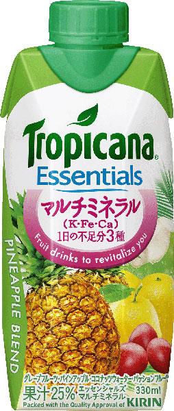 기린 트로피컬 필수 멀티 미네랄 330ml 종이 팩 12 개입 〔 Essentials Tropicana PINEAPPLE BLEND 파인애플 혼합 믹스 주스 미네랄 칼륨 〕