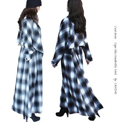 【♯ あったかコートワンピース】 レディースファッション アウター コート ワンピース ロング ウール ポリエステル マキシ チェック