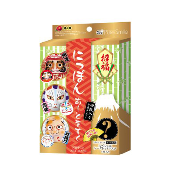 Pack face mask interesting present beauty bathtime foreigner Japan souvenir  with four pieces of incense of the pure smile 招福 にっぽんあーとますく BOX set