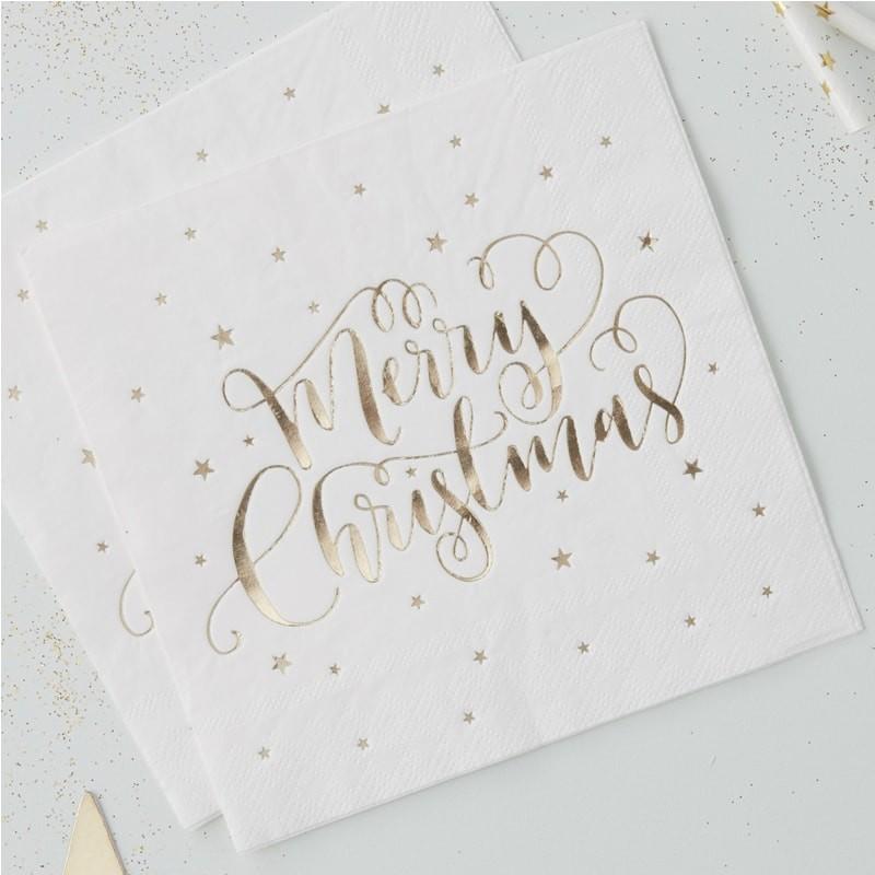 パーティーにおしゃれなゴールドのナプキン 格安SALEスタート 50%off ロンドンから届いたゴールドのメッセージがきれいなMerry Christmas 入荷予定 パーティーナプキン 20セット クリスマス