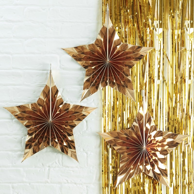 星がテーマのパーティー お誕生日 ハロウィン クリスマスにお星さまの形のペーパーファン GingerRay ゴールドスターファン 3ピースセット [ギフト/プレゼント/ご褒美] 直径 パーティー 展示 ショーウィンドウ 星の形のペーパーファン 至上 スタイリング 新年カウントダウン クリスマス 約23センチ