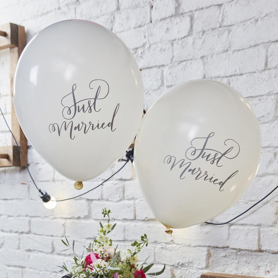 メール便可 Gingerray 市場 ロンドンから届いた Just Married 2020秋冬新作 アイボリーバルーン 10ピースセット レター