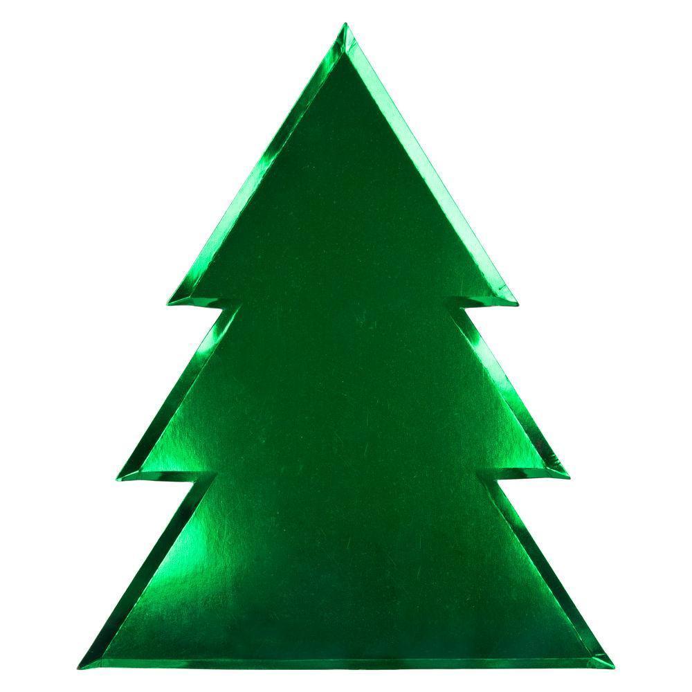 クリスマスパーティーにかわいいパーティーグッズ、ランチボックス 【MeriMeri】クリスマスパーティープレート ツリーシェイプ グリーン 8枚セット