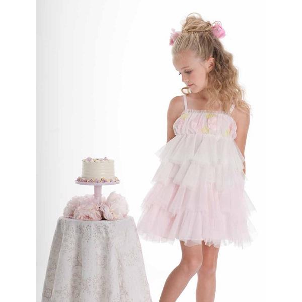 【Biscotti Kate Mack】シフォンフリルティアードのストラップドレス
