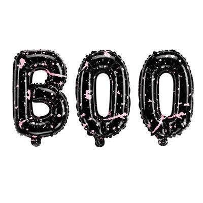 春の新作続々 ハロウィンパーティーにおしゃれなバルーン ハロウィンバルーン BOO 特価 3文字のバルーン 65×35センチ ブラック 飾り付け ピンク デコレーション コスチューム ショーウィンドウ