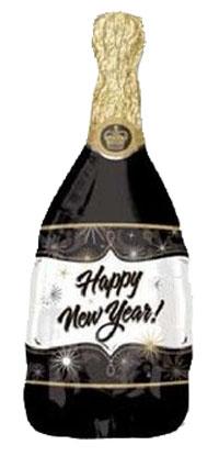 おすすめ カウントダウンパーティーにぴったりなシャンパン型のパーティーバルーン メール便可 ニューイヤーカウントダウンパーティーバルーン ニューイヤー シャンパン お買い得