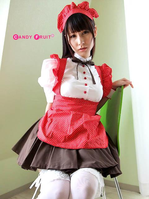 【送料無料】ブラウスのボタンも赤く染め上げてもらったオリジナル★パティシエメイド服