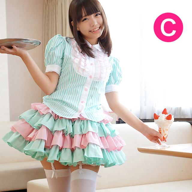 新登場 可愛いメイド服と言えばキャンディフルーツ 大きいサイズもご用意してます AL完売しました ペチコート無しでこのボリューム 送料無料 フリルに溺れるアジュールメイド服 マカロン