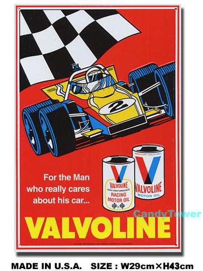 返品不可 バルボリン チェッカーフラッグ レーシングカー のブリキ看板 定番キャンバス