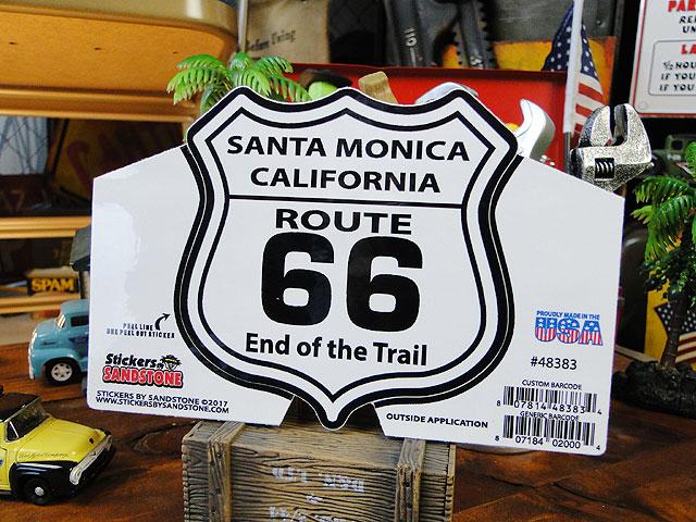 アメリカの伝説のロード、ルート66を自慢げにアピール! ルート66のステッカー Lサイズ(シールドシェイプ/サンタモニカ)
