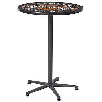 【全国送料無料】ハーレーダビッドソンのバーテーブル(ヴィンテージオイル缶ロゴ)【※代引発送不可】