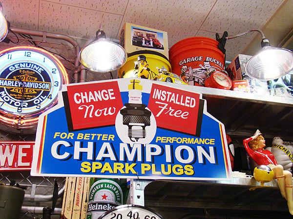 【全国送料無料】チャンピオンスパークプラグのビッグサイズ看板(ブルーバック) ■ アメリカ雑貨 アメリカン雑貨