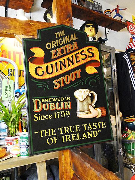イギリスギネスビールのウッドサイン(ブラック) ■ 木製 ウッド アメリカ 看板 サインプレート サインボード アンティーク アメリカン雑貨 アメリカン雑貨
