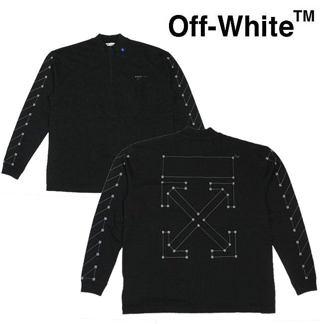 【半期に一度の 決算SALE】OFF-WHITE Tシャツ オフホワイト メンズ 長袖Tシャツ ポケT モックネック ハーフジップ DIAG BACKBONE ZIP MOCK NECK(BLACK × SILVER)【OMAB031E191850011091】