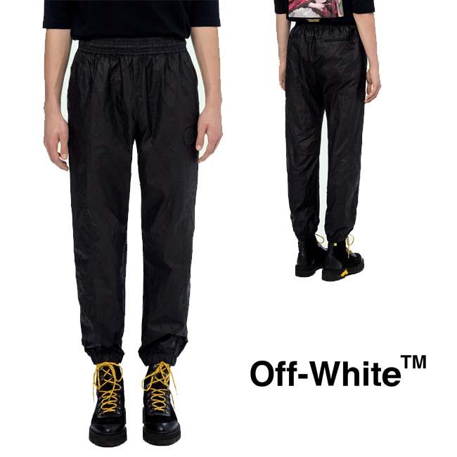 【年末年始 クリアランスセール】OFF-WHITE パンツ オフホワイト メンズ ナイロンパンツ TRACK PANTS(BLACK)【OMCA096E19E140021000】