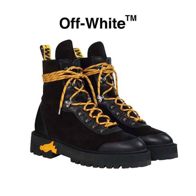 【半期に一度の 決算SALE】OFF-WHITE ブーツ オフホワイト マウンテンブーツ HIKING BOOTS(BLACK)【OMIA121E19D680021000】