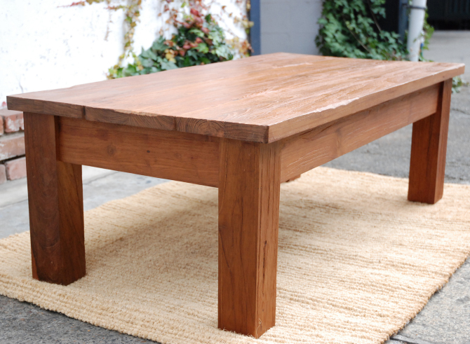 Antique Table Center Table Wooden Trees Old Teak Timber Straight Leg  Natural Living Table Coffee Table