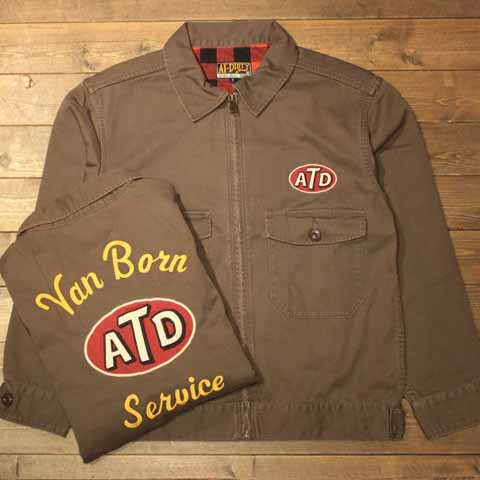 """AT-DIRTY""""ATD UNION JACKET""""BROWN【AT-DIRTY】(アットダーティー)正規取扱店(Official Dealer)Cannon Ball(キャノンボール)【送料無料/あす楽対応/開襟/ワークシャツ】"""