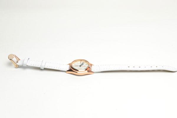 腕時計 電池式クォーツ サークル 細皮ベルト お洒落 ホワイト盤面カラー ホワイトベルト 3ヶ月保証つき ストーン f-kt233