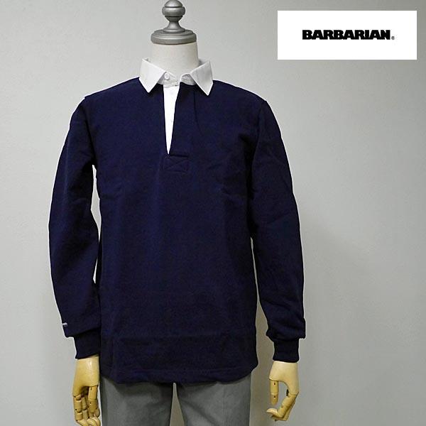 BARBARIAN(バーバリアン) DFS-01 メンズ レギュラーカラー長袖ラガーシャツ NAVY(ネイビー) S M Lサイズ