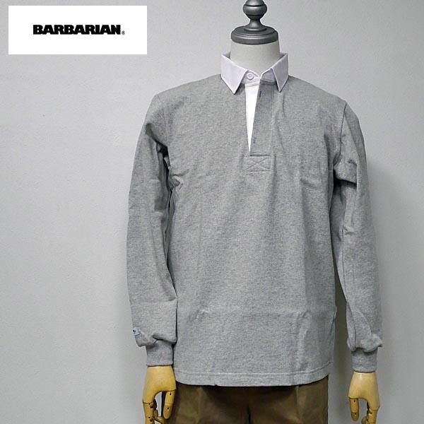 BARBARIAN(バーバリアン) DFS-03 メンズ レギュラーカラー長袖ラガーシャツ GRAY(グレー/アッシュ) S M Lサイズ