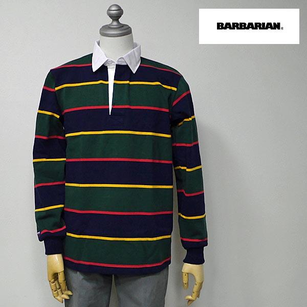 BARBARIAN(バーバリアン) DFS-04 メンズ レギュラーカラー長袖ラガーシャツ NAVY(紺)×GOLD(黄)×BOTTLE(緑)×RED(赤)ボーダー柄 S M Lサイズ ★*