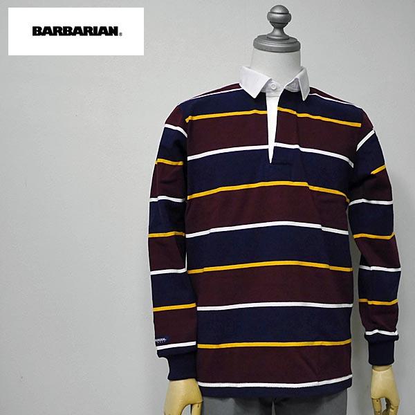 BARBARIAN(バーバリアン) NFS-01 メンズ レギュラーカラー長袖ラガーシャツ NAVY(紺)×GOLD(黄)×HARVARD(赤茶)×WHITE(白)ボーダー柄 S M Lサイズ