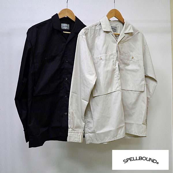 【4/5 23:59までポイント10倍】SPELLBOUND スペルバウンド 46-192T オープンカラーワークシャツ 2カラー(ブラック ベージュ) 2サイズ(M L) 46-0192T