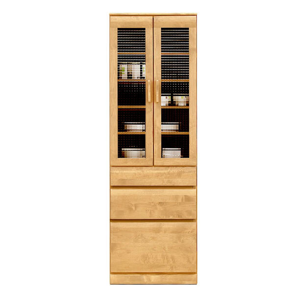 天然木の自然塗装オイル仕上げ。自然な感じで主張しすぎないアルダー材の魅力を活かした60幅食器棚 フレスコナチュラルNAダイニングボード、キッチン収納