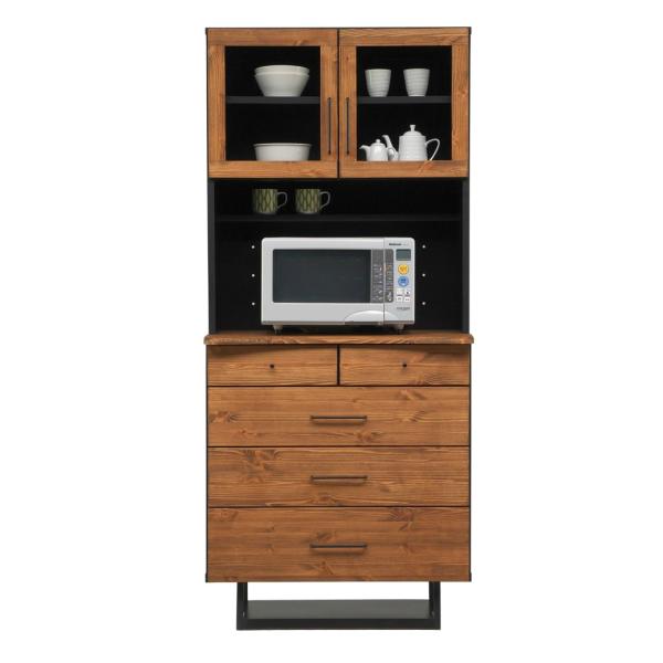 80幅食器棚 素朴さ 温もり感 天然木パイン材 体に優しい 自然オイル塗装 脚付き ダイニングボード食器棚 レンジボード キッチン収納 80幅 オープンボード リベックkm-rebeck-80op