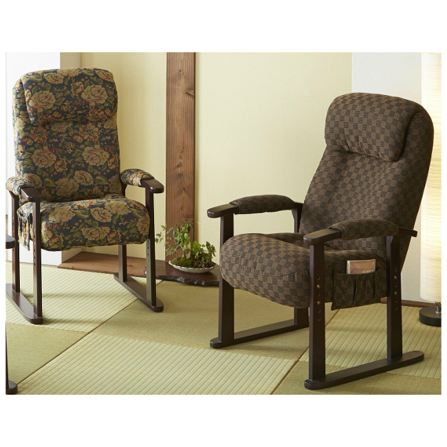 座椅子 高座椅子 リクライニング 高さ調整 4段階 ファブリック アーム付き ブラウン 花柄 2色 肘カバー付収納ポケット付きラバーウッド レバー式12段稼働 gkb-za-04-br-fl