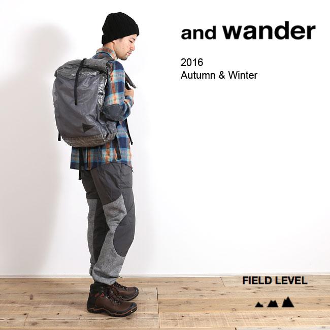 and wander アンドワンダー ツイルフリースパンツ    防寒 登山 メンズ 男性用 アウトドア キャンプ