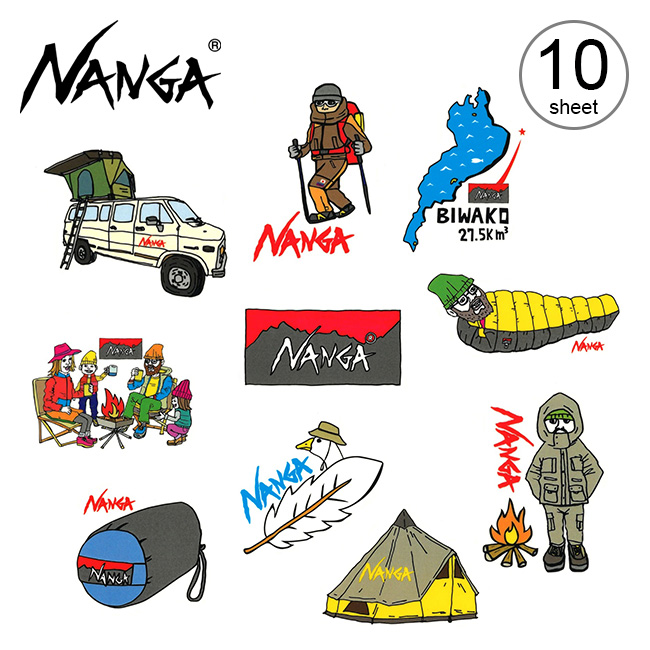 2021 秋冬 再再販 ナンガ×ウシオダヒロアキ ステッカー NANGA×USHIODA HIROAKI Sticker 商品 キャンプ オリジナルステッカー アウトドア 雑貨 正規品 シール