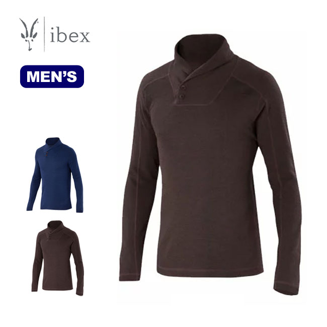 ibex アイベックス メンズ ワッフルニットショールカラー 【送料無料】メンズ 男性 ウール シャツ インナー アンダーウェア 軽量 ベースレイヤー メリノウール