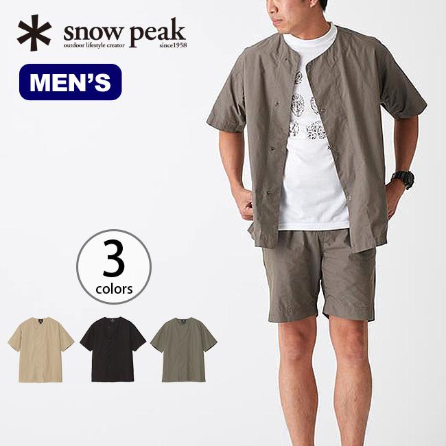 snow peak スノーピーク コットンナイロンタイプライターショートスリーブ メンズ ウェア トップス 半袖 カーディガン シャツ メンズ mens 紳士 ミリタリー 米軍 スリーピングシャツ タイプライター素材